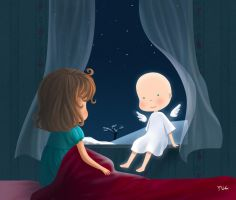 Angel visit - Rinian by childrensillustrator