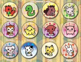 Cute Chinese Animal Zodiacs Buttons by Eternal-S