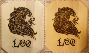 Woodburning - Tribal Lion Astrology Sign by Stepher17