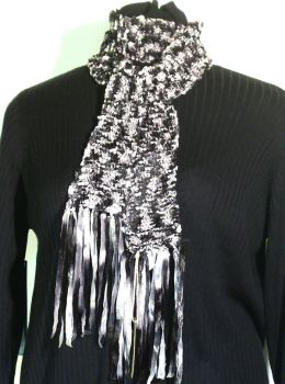 KNIT SCARF WOVEN RIBBONS by rosewoodcreations