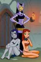 Starfire and Raven enslaved by Blackfire by AndronicusVII