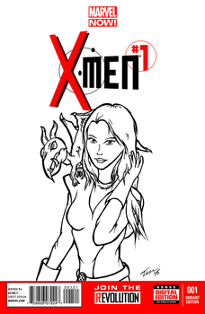 Kitty Pryde and Lockheed Sketchcover by tekitsune