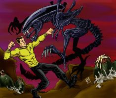 Captain Kirk v. Alien by RamonVillalobos