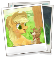 Applejack + Winona by Zayger