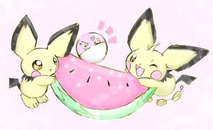 Pichus watermelon... by shiroiwolf