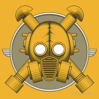 Art Deco Gasmask T-Shirt by Rustyoldtown