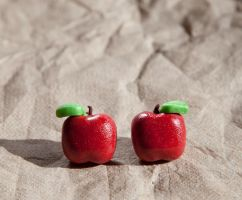 Red Apple Stud Earrings by SweetSugaRush