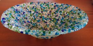 Bubbles Glass Plate by Fields-Of-Clover