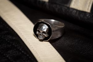 Sterling Skully Signet with Black ENamel by whiskey1973