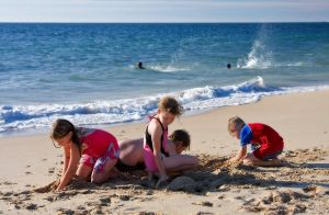 Kids at the beach by RaynePhotography