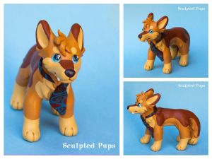 Zann fox character sculpture commission by SculptedPups