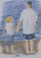 Holding Hands at the beach by Jazzmanian