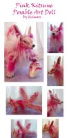 Three Tailed Pink KitsunePosable Art Doll by Eviecats