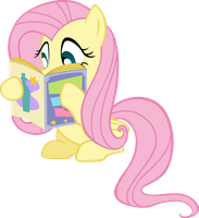 Fluttershy Reading Vector by scrimpeh