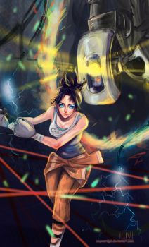 Chell and Glados Commission by waywardgal