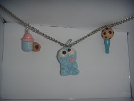 Baby Cookie monster necklace by XDtheBEASTXD