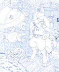Lucario and Riolu II (Blues) by CougarLeon2