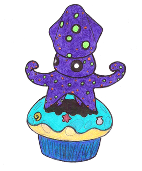 Inked on the Beach Cupcake by d3sc3nd3d-on3