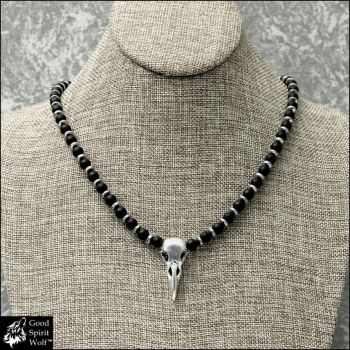 Raven Magical Spirit Skull Beaded Necklace by GoodSpiritWolf
