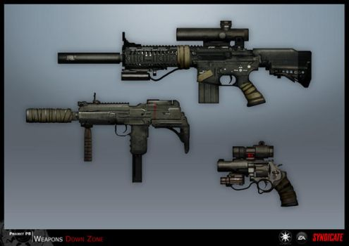 SYNDICATE concept - weapon, downzone guns by torvenius