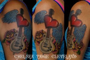 Memorial - Guitar, heart and roses - by Chelsea by SmilinPirateTattoo