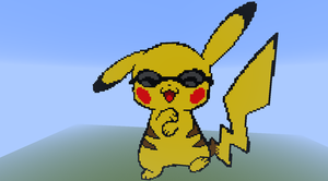 minecraft pikachu gangnam style pixel art by justinw1996