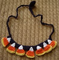 crochet candy corn necklace by meekssandygirl