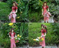 Aerith and her basket with flowers by Shadica1stClass
