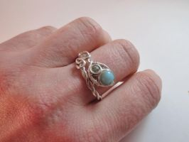 Silver wrap ring with amazonite by whippetgirl