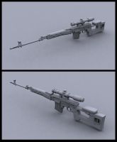 SVD rifle clay render by toneloperu