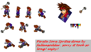 Sora as a pirate sprites by fallensoldier420