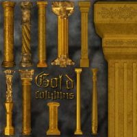 Gold columns - exclusive stock by LucieG-Stock