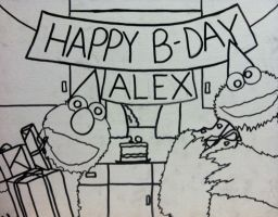 Elmo and Cookie Monster Birthday Outline by sampson1721