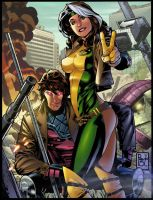 Rogue and Gambit by gabrielcolors