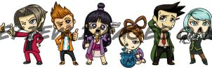 Phoenix Wright Chibis by Red-Flare