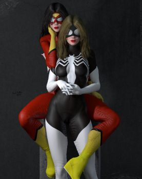 Jessica Drew and Julia Carpenter Spider Woman II by DevilishlyCreative