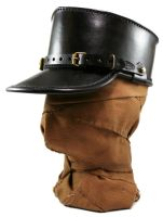 STEAMPUNK LEATHER KEPI - black leather by AmbassadorMann