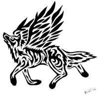 Tribal Winged Wolf by Vargablod