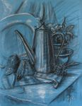 Still life With Teapot and Flower by mary-petroff