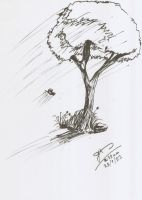 sketch ink grass rock tree butterfly light by Draconica5