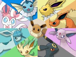 Wallpaper #2: Eeveelutions by xxrrsteve