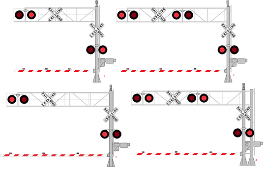 Various Cantilever Signals with Gates Lit 4 by WillM3luvTrains