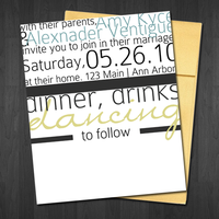 Modern Wedding Invitation by cardboardmonet