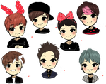 Chibi GOT7 Sketches by xxxRinRulesxxx