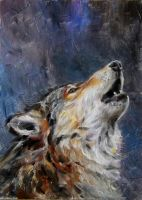 Daily painting - the howling wolf by jbillustration