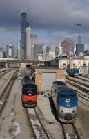 Amtrak under the Chicago Skyline by JamesT4