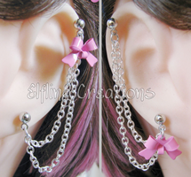 Pink and Silver Bow Reversible Chain Earring by merigreenleaf