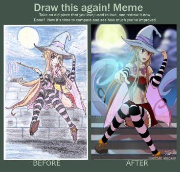 Comparison 2015 and 2016 Halloween Drawing by Tirius99
