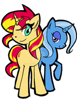 Sunset Shimmer And Trixie by rvceric