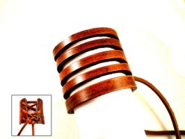Victorian Slashed leather Cuff by Skinz-N-Hydez